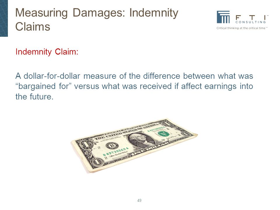 Measuring Damages: Indemnity Claims