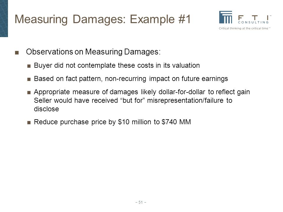 Measuring Damages: Example #1