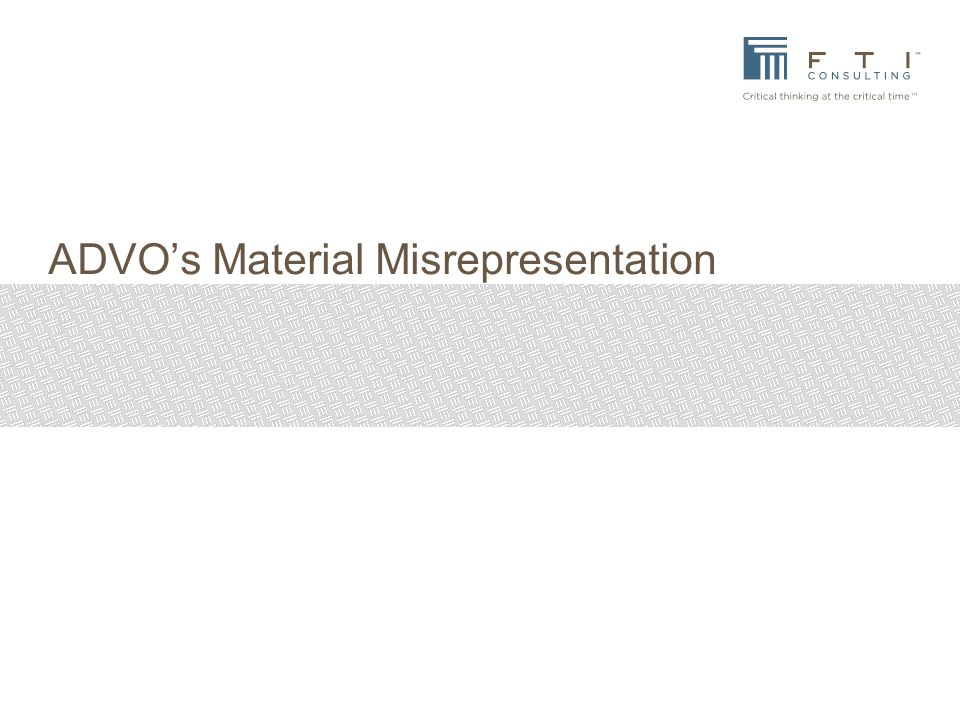 ADVO's Material Misrepresentation