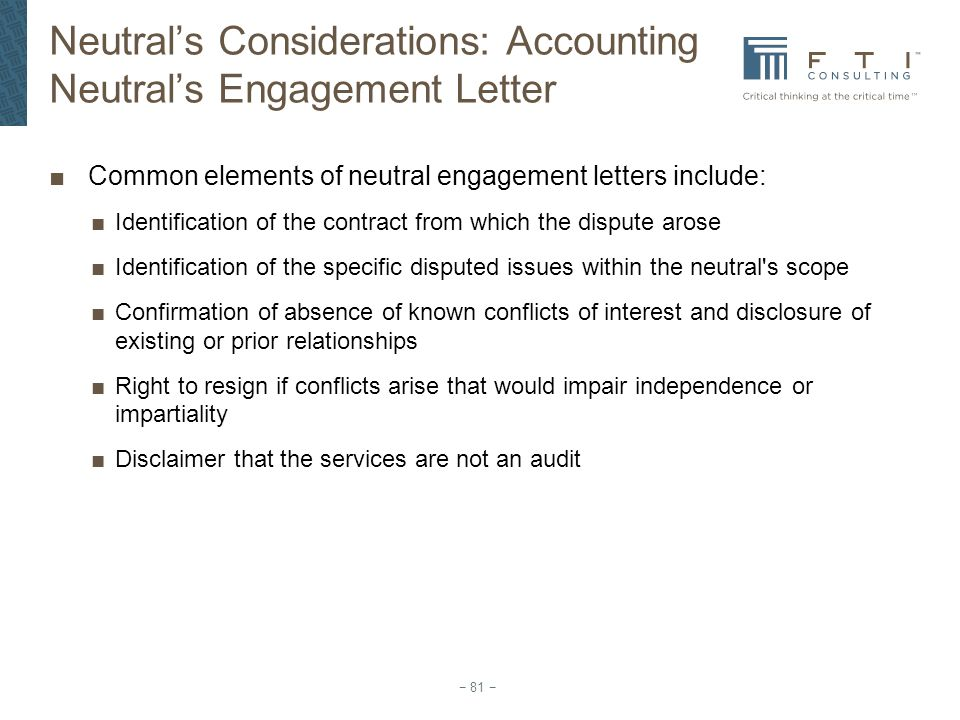 Neutral's Considerations: Accounting Neutral's Engagement Letter