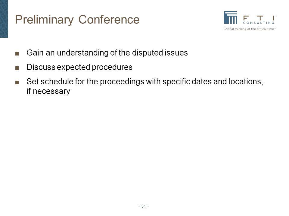 Preliminary Conference