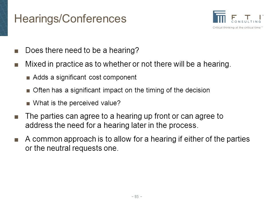Hearings/Conferences