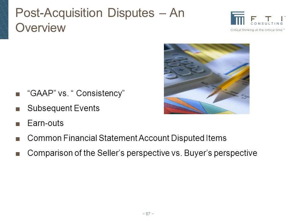 Post-Acquisition Disputes – An Overview