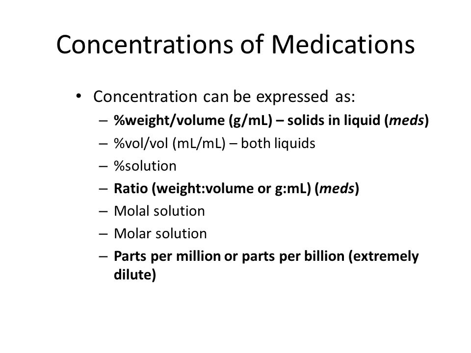 Concentrations of Medications