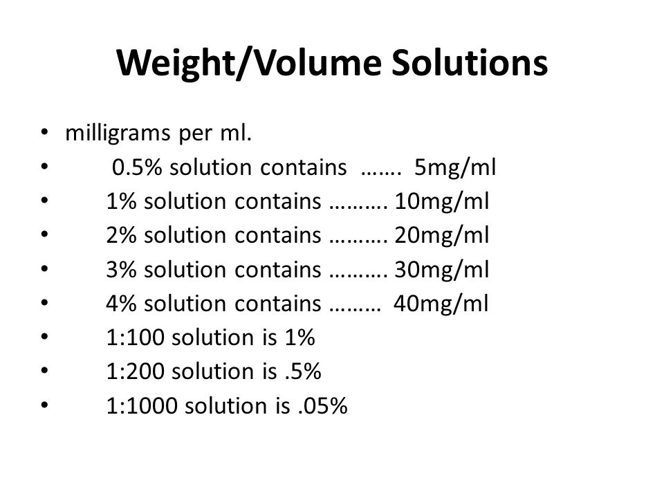 Weight/Volume Solutions