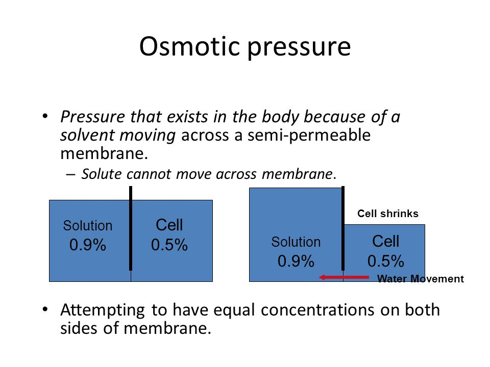 Osmotic pressure Pressure that exists in the body because of a solvent moving across a semi-permeable membrane.