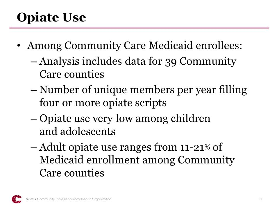 Opiate Use Among Community Care Medicaid enrollees: