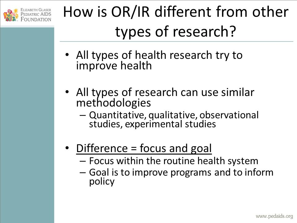How is OR/IR different from other types of research