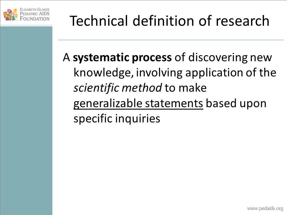 Technical definition of research