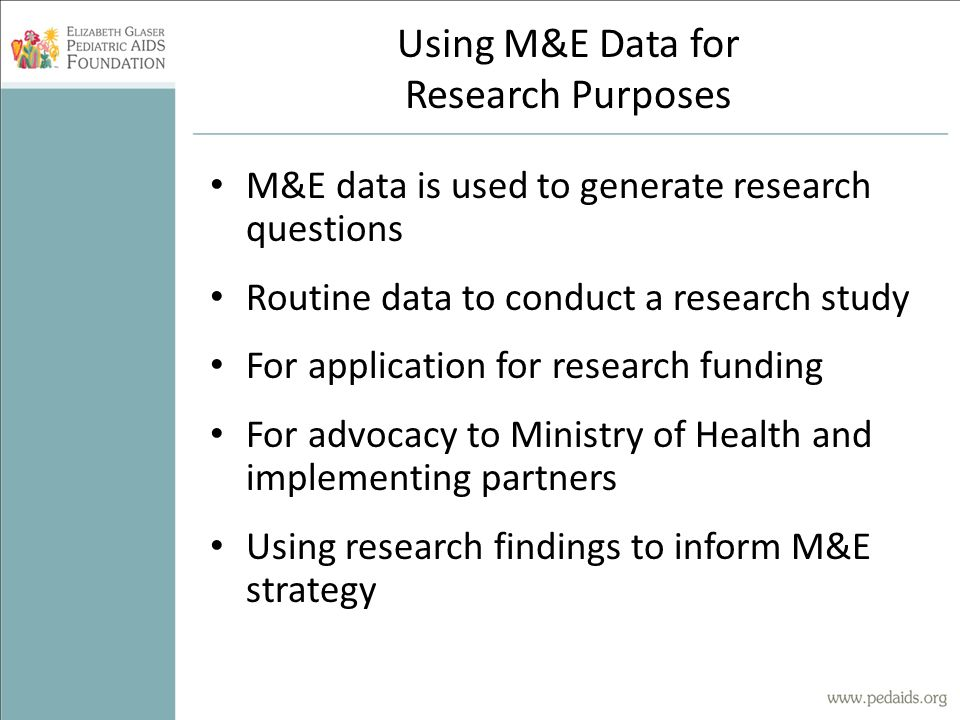 Using M&E Data for Research Purposes