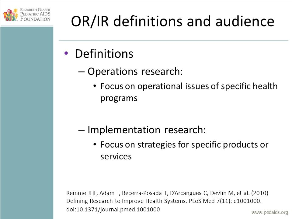 OR/IR definitions and audience