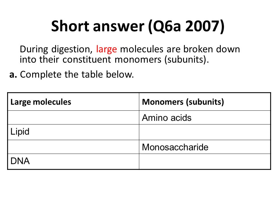 Short answer (Q6a 2007) a. Complete the table below.
