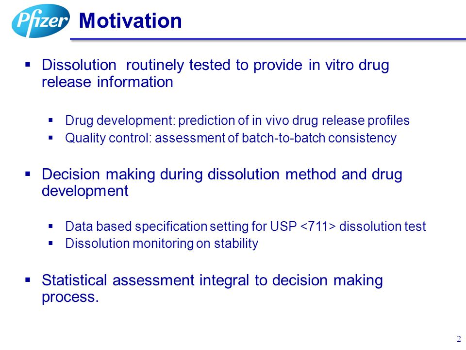Motivation Dissolution routinely tested to provide in vitro drug release information. Drug development: prediction of in vivo drug release profiles.