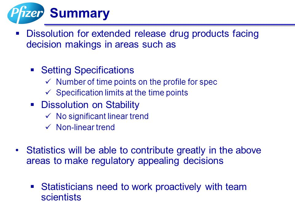 Summary Dissolution for extended release drug products facing decision makings in areas such as. Setting Specifications.