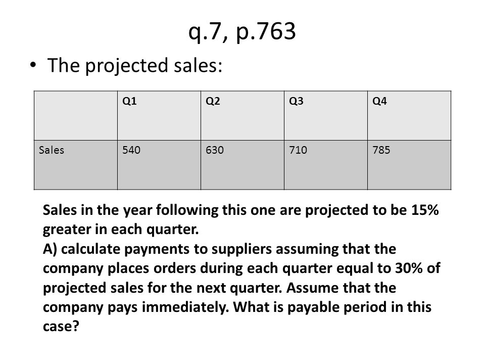 q.7, p.763 The projected sales: