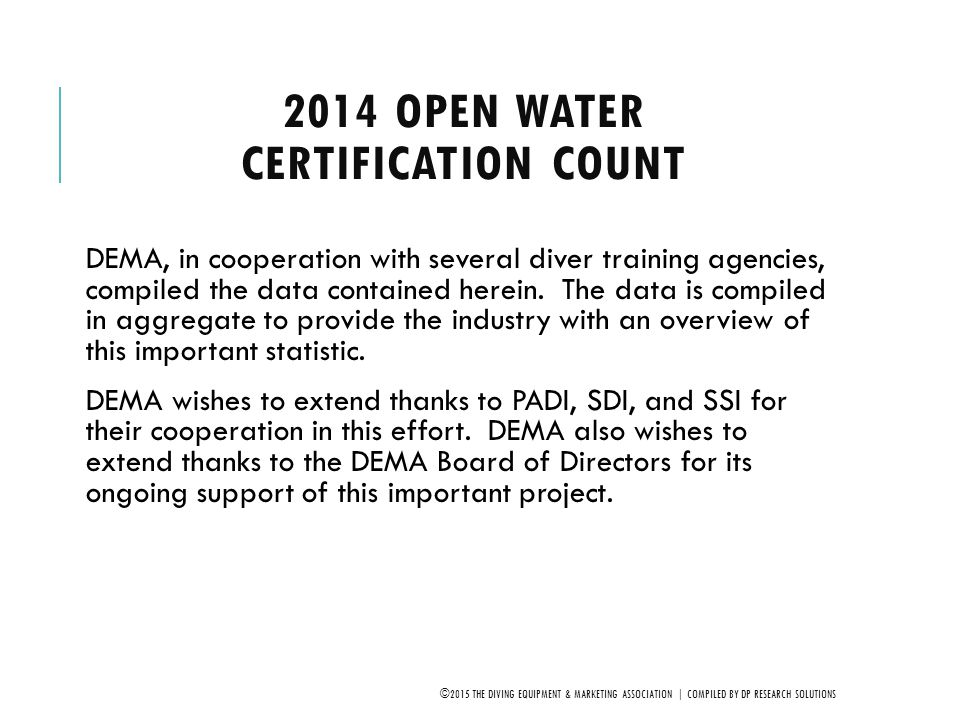 2014 Open Water Certification Count
