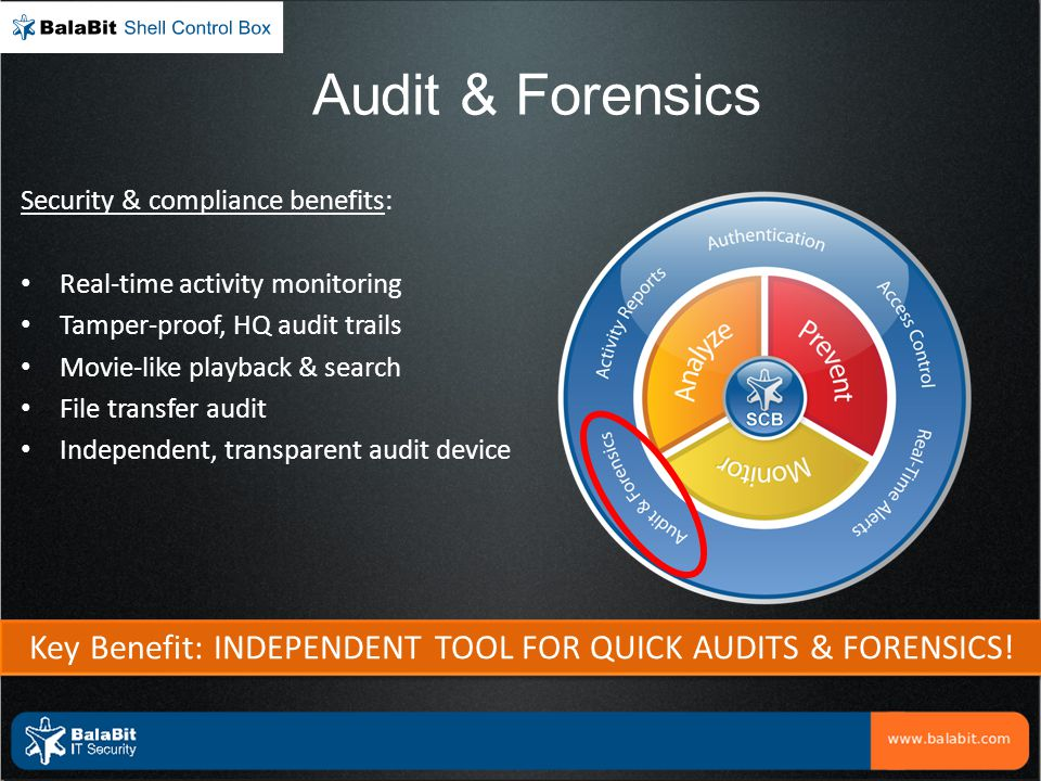 Key Benefit: INDEPENDENT TOOL FOR QUICK AUDITS & FORENSICS!