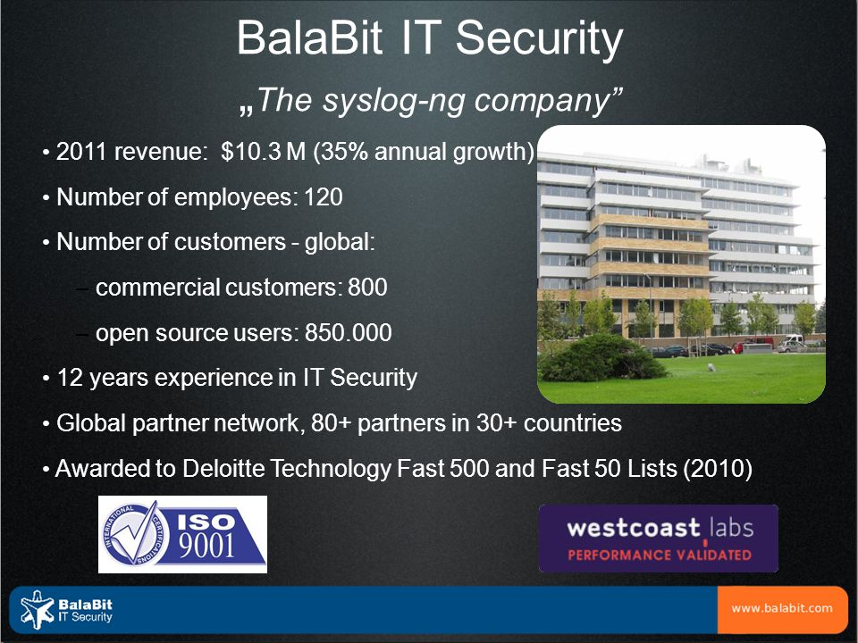 "BalaBit IT Security ""The syslog-ng company"