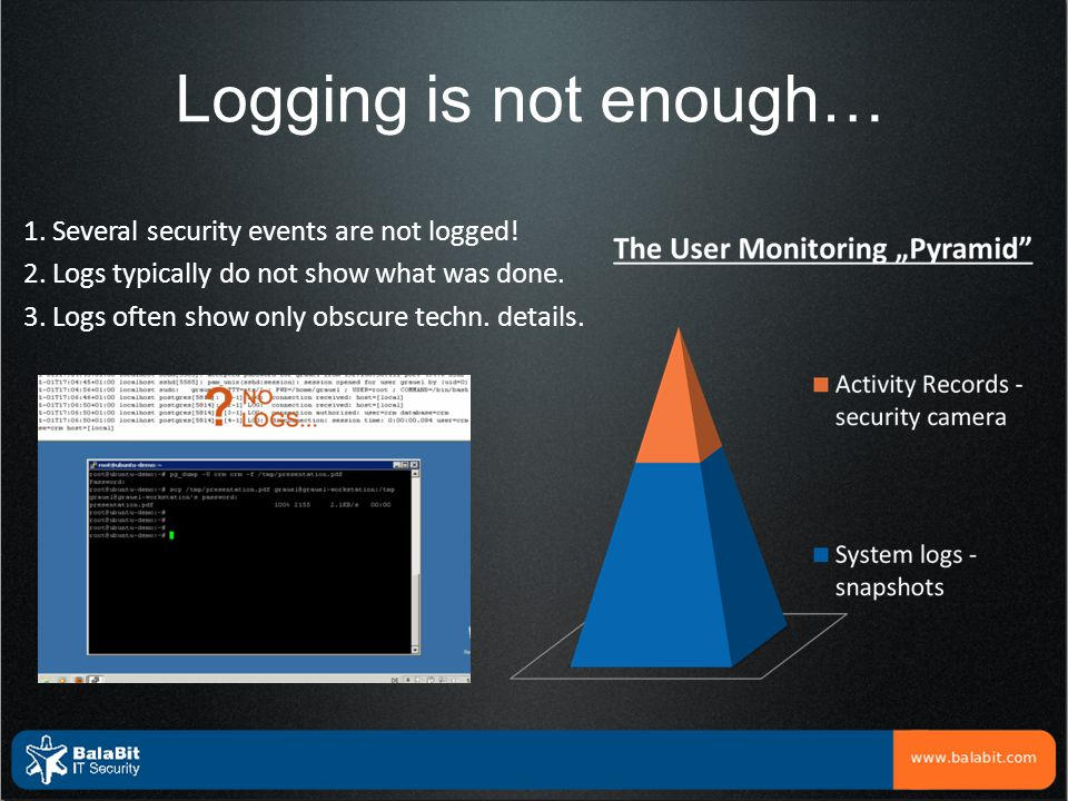 Logging is not enough…