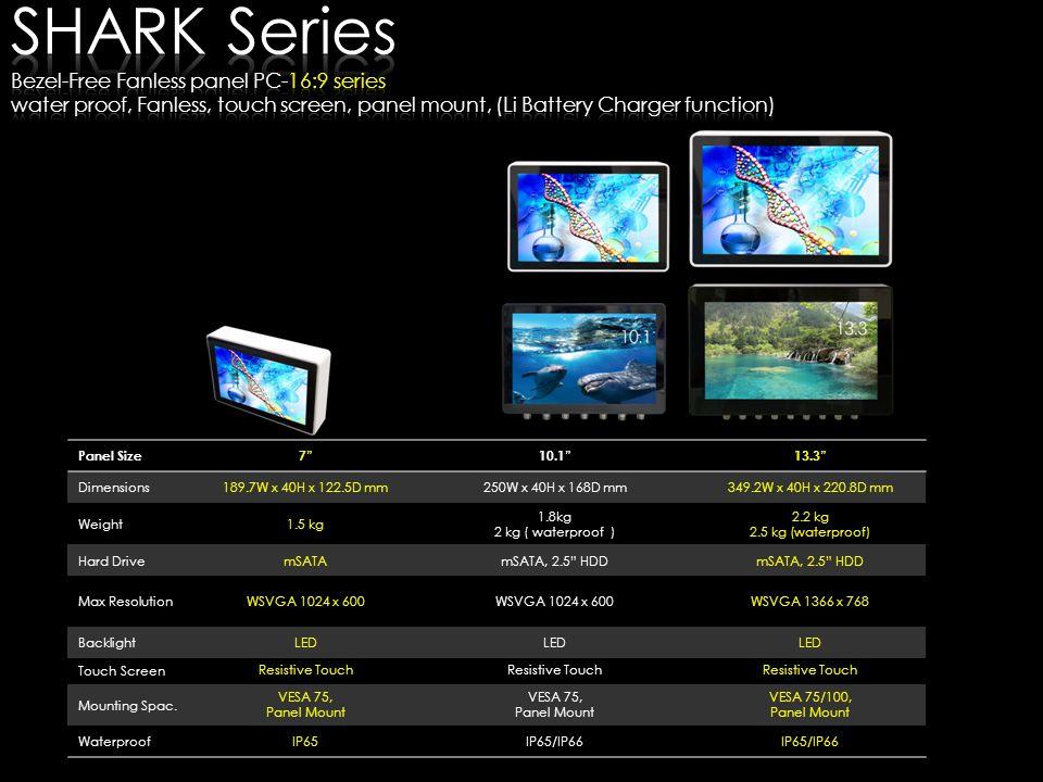SHARK Series Bezel-Free Fanless panel pc-16:9 series