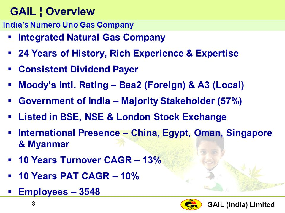 GAIL ¦ Overview Integrated Natural Gas Company