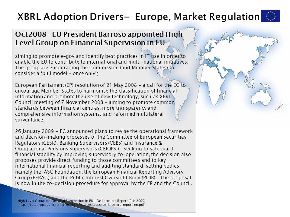 XBRL Adoption Drivers- Europe, Market Regulation