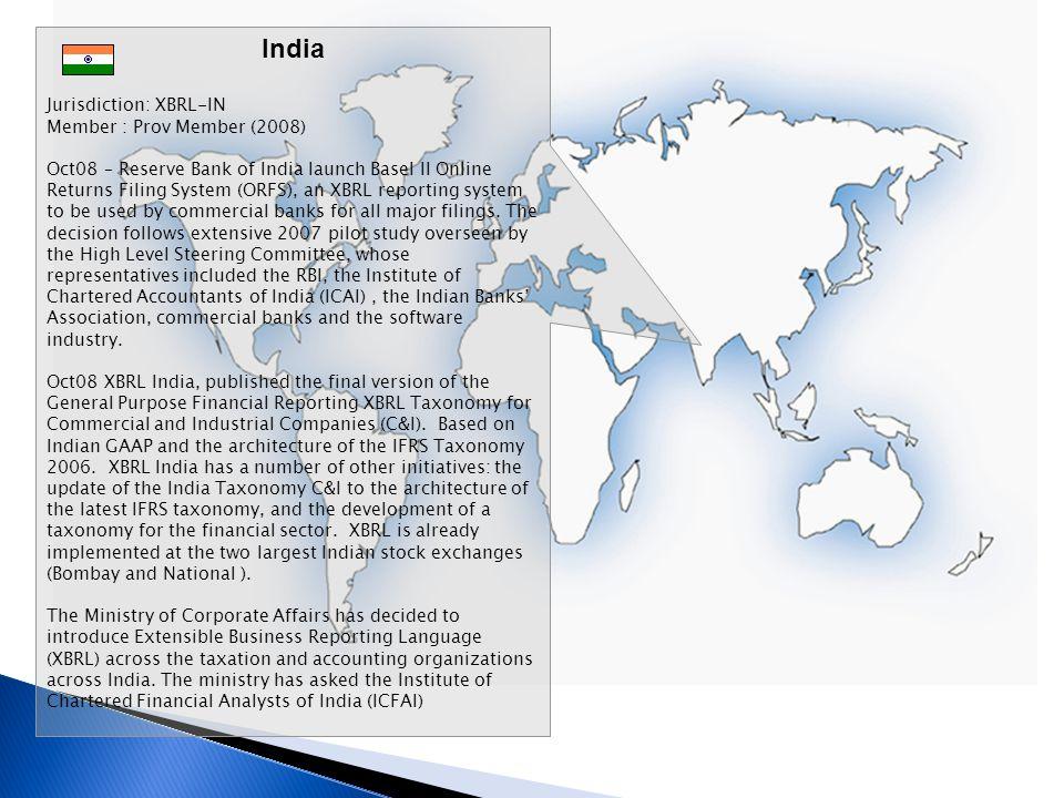 India Jurisdiction: XBRL-IN Member : Prov Member (2008)