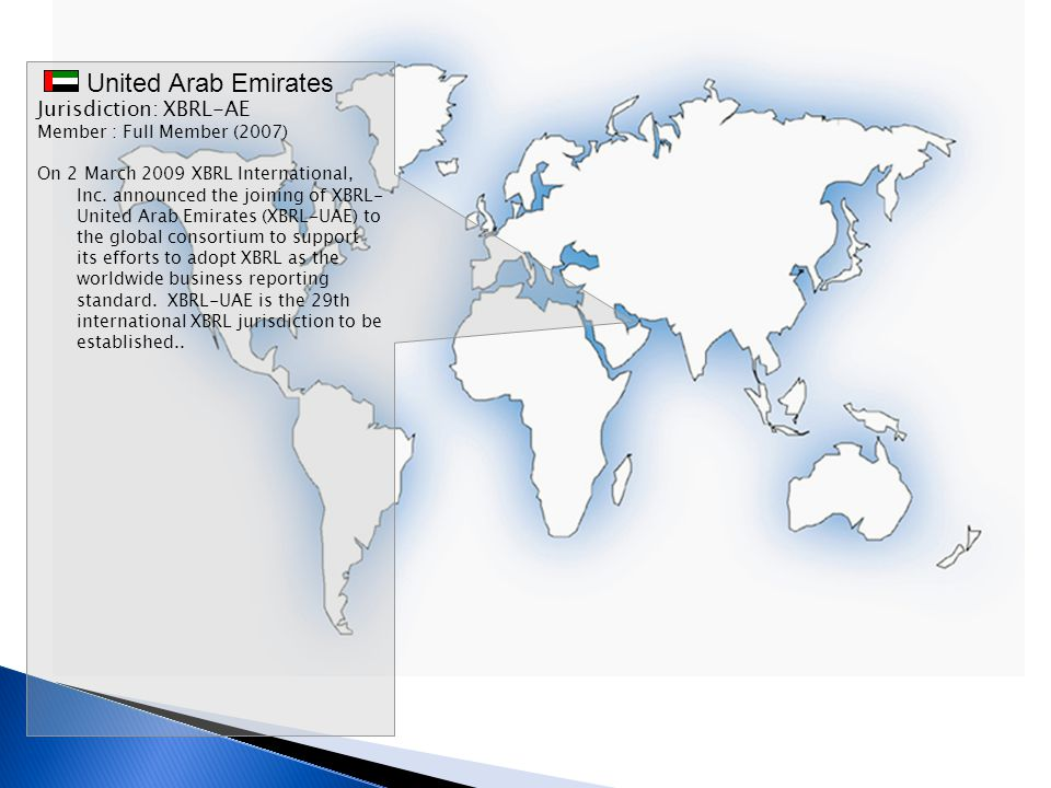 United Arab Emirates Jurisdiction: XBRL-AE Member : Full Member (2007)
