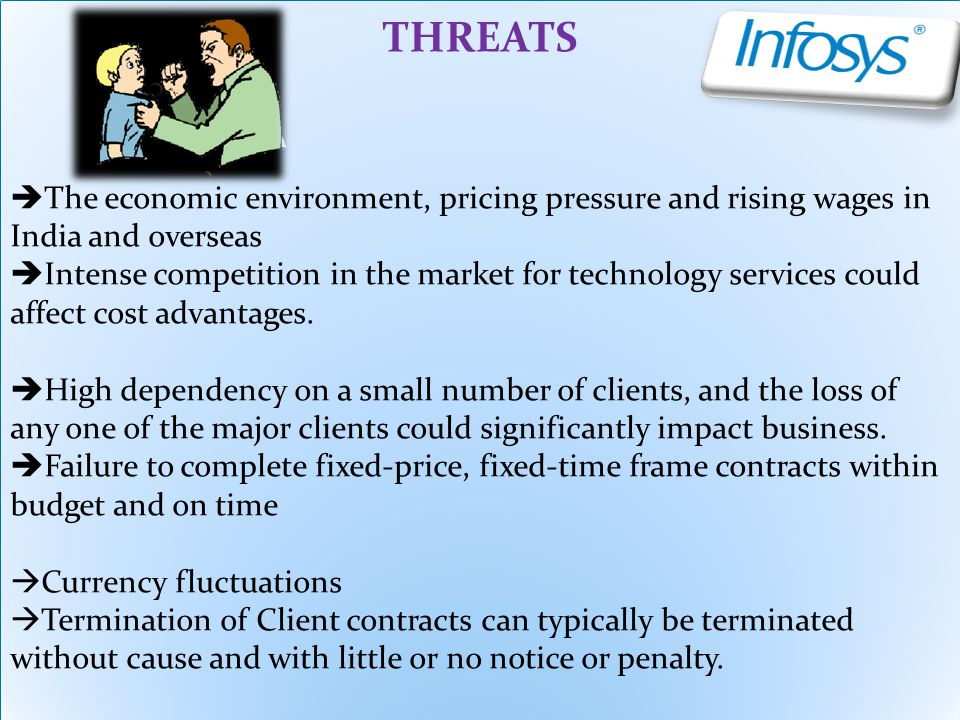 THREATS The economic environment, pricing pressure and rising wages in India and overseas.
