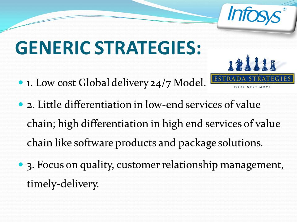 GENERIC STRATEGIES: 1. Low cost Global delivery 24/7 Model.