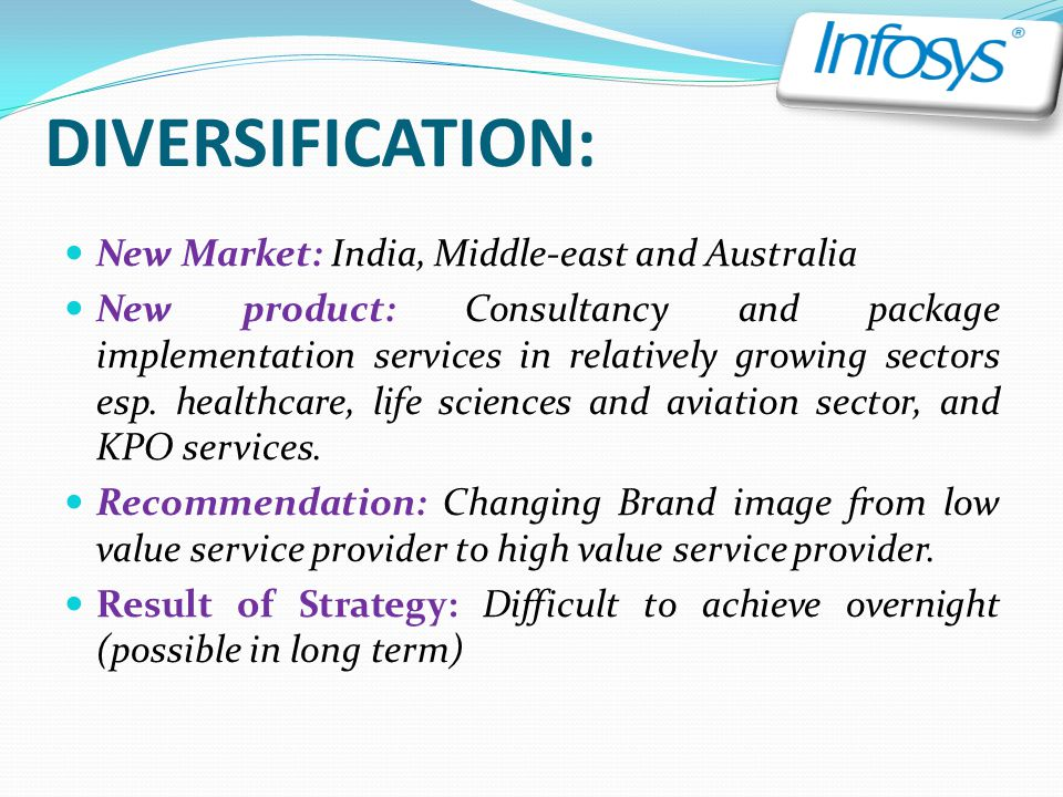 DIVERSIFICATION: New Market: India, Middle-east and Australia