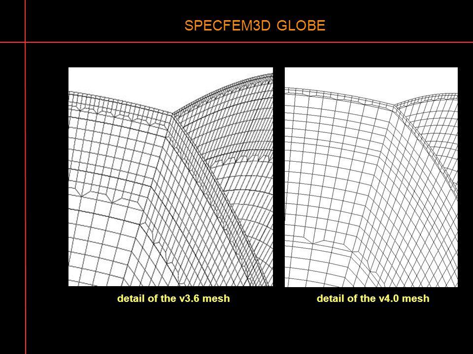 SPECFEM3D GLOBE detail of the v3.6 mesh detail of the v4.0 mesh