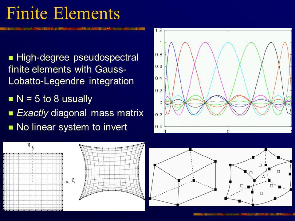 Finite Elements High-degree pseudospectral finite elements with Gauss-Lobatto-Legendre integration.