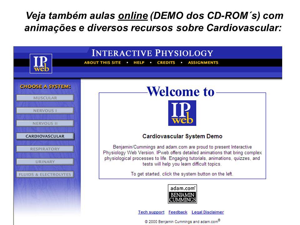 Veja também aulas online (DEMO dos CD-ROM´s) com animações e diversos recursos sobre Cardiovascular: