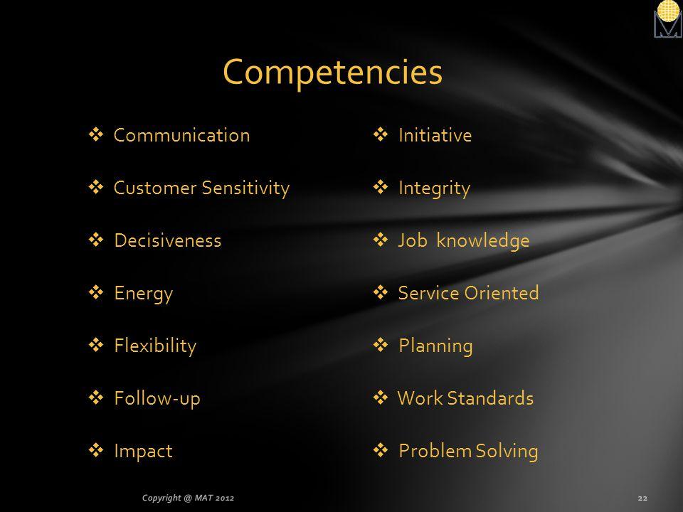 Competencies Communication Customer Sensitivity Decisiveness Energy