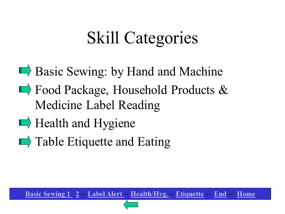 Skill Categories Basic Sewing: by Hand and Machine