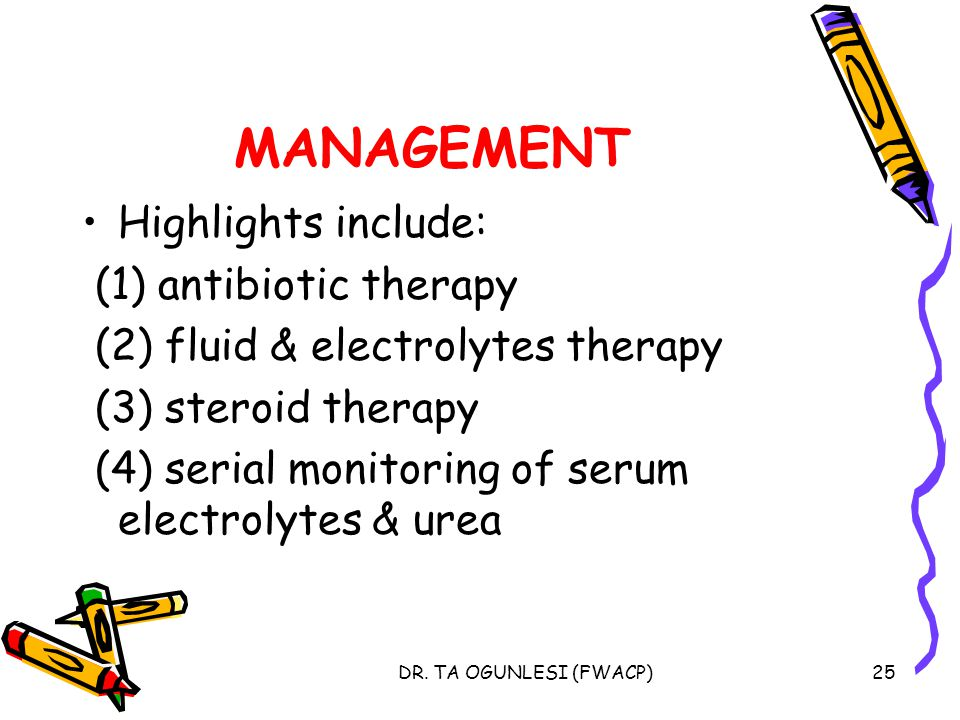 MANAGEMENT Highlights include: (1) antibiotic therapy