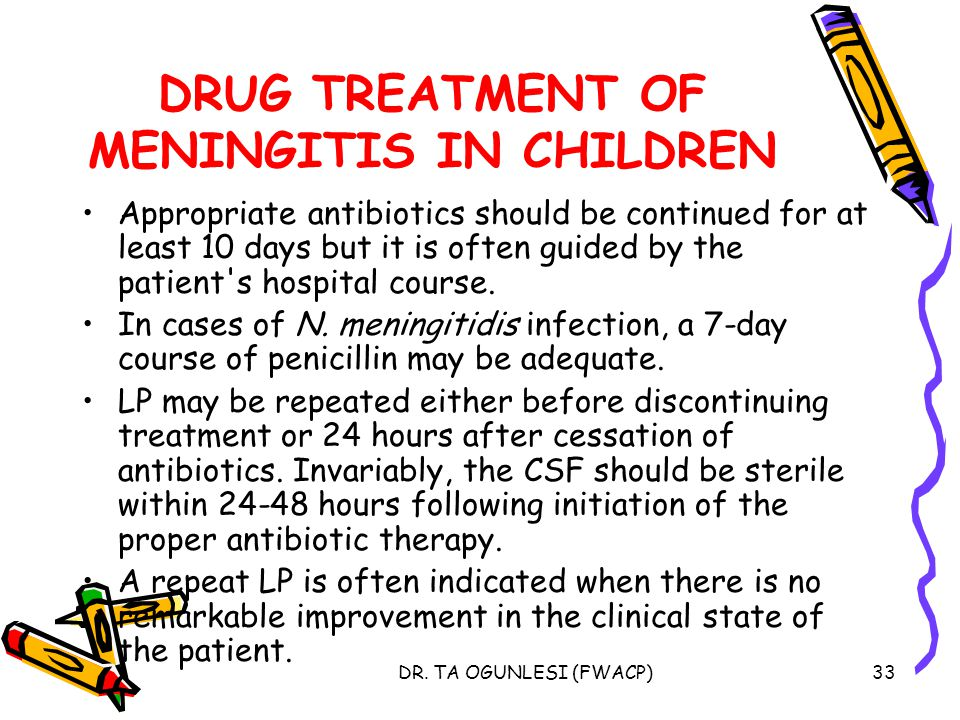 DRUG TREATMENT OF MENINGITIS IN CHILDREN