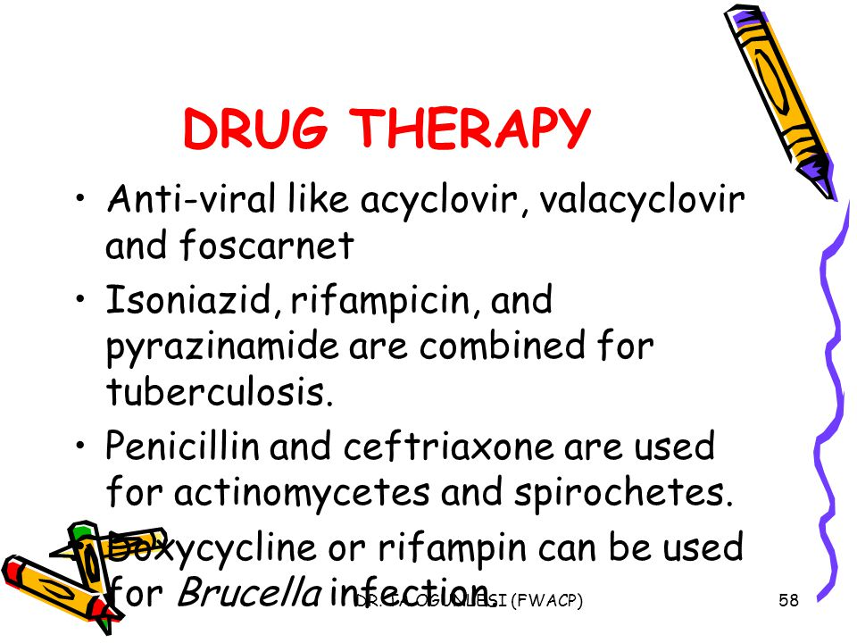 DRUG THERAPY Anti-viral like acyclovir, valacyclovir and foscarnet