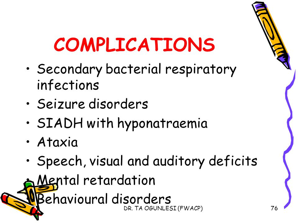 COMPLICATIONS Secondary bacterial respiratory infections