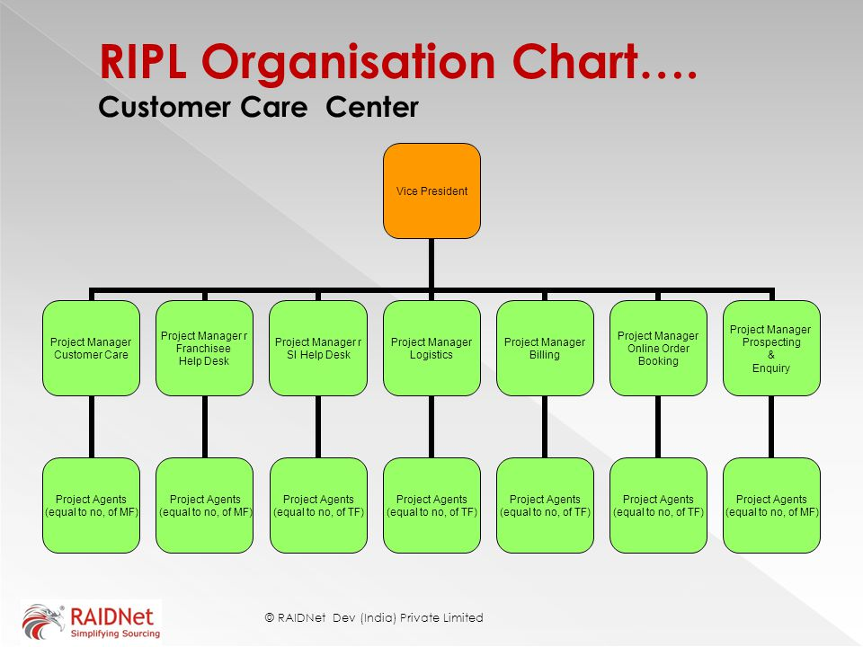 RIPL Organisation Chart…. Customer Care Center
