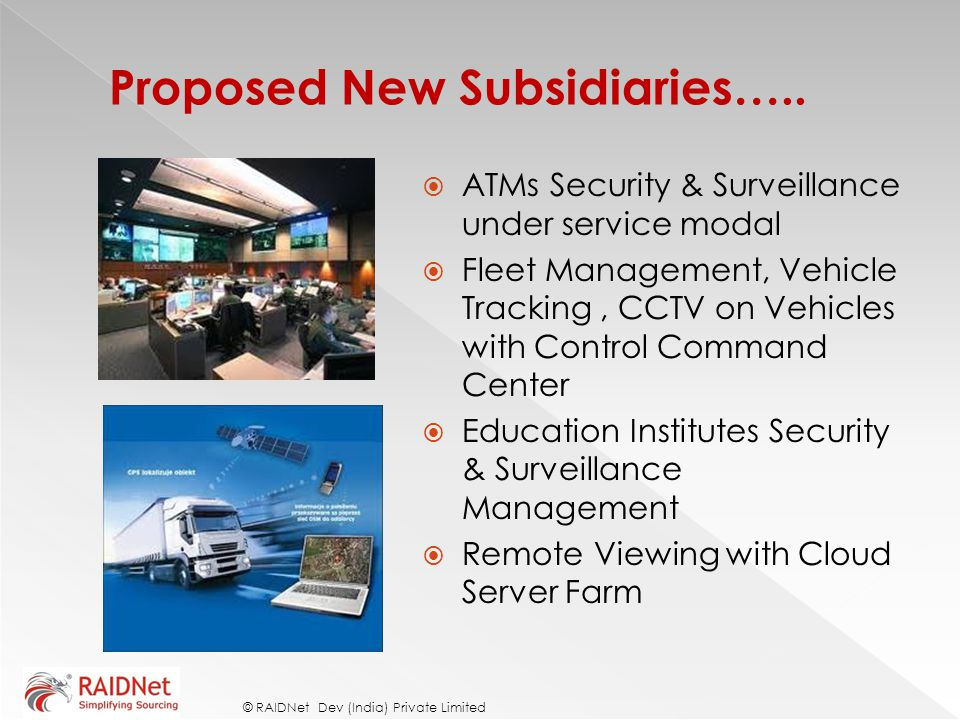 Proposed New Subsidiaries…..
