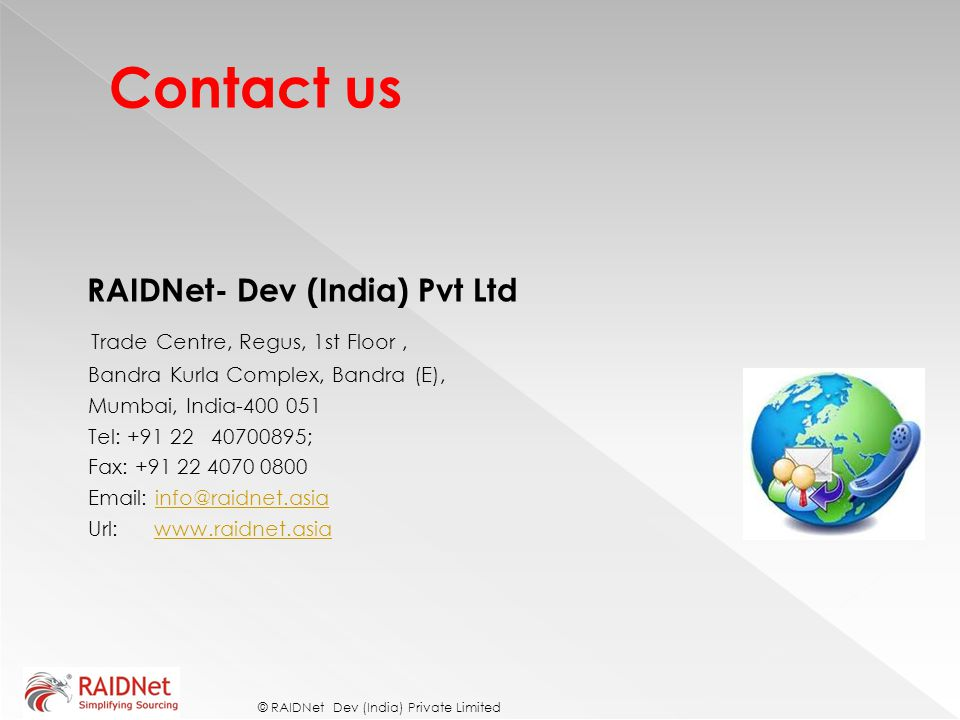 Contact us RAIDNet- Dev (India) Pvt Ltd