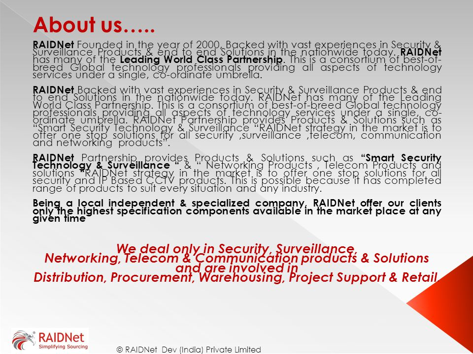 About us….. We deal only in Security, Surveillance,