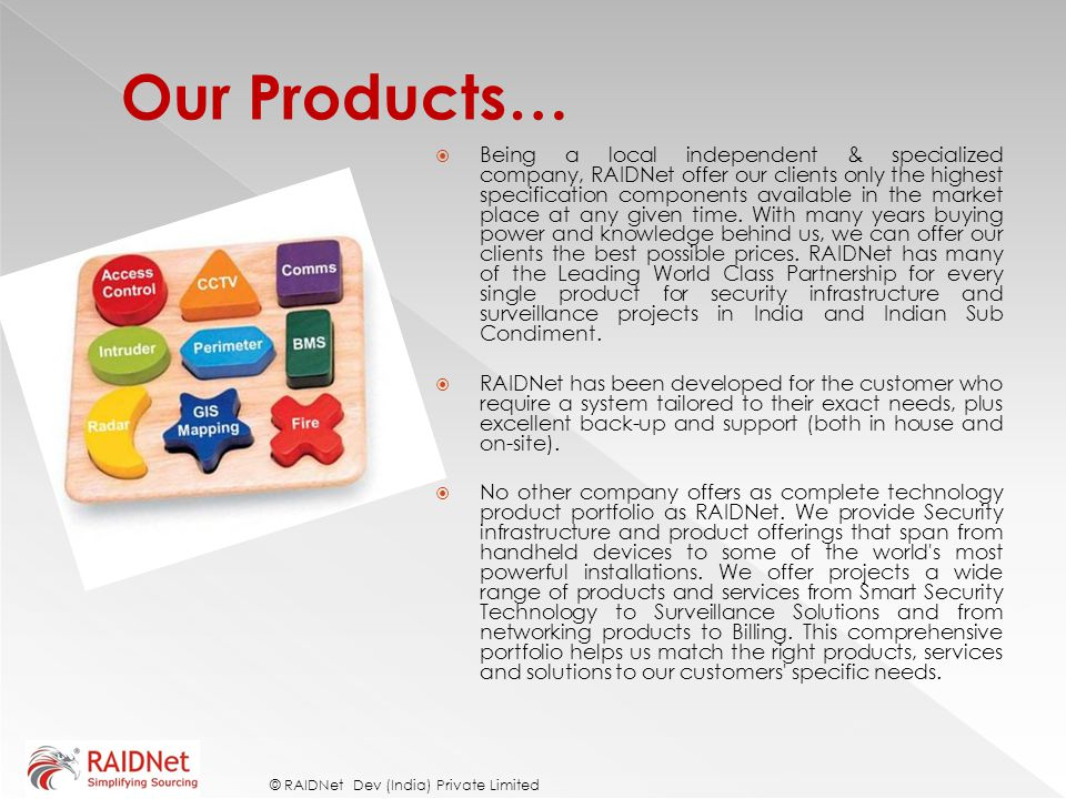 Our Products…