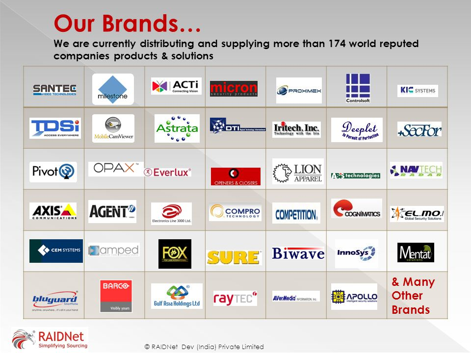 Our Brands… We are currently distributing and supplying more than 174 world reputed companies products & solutions