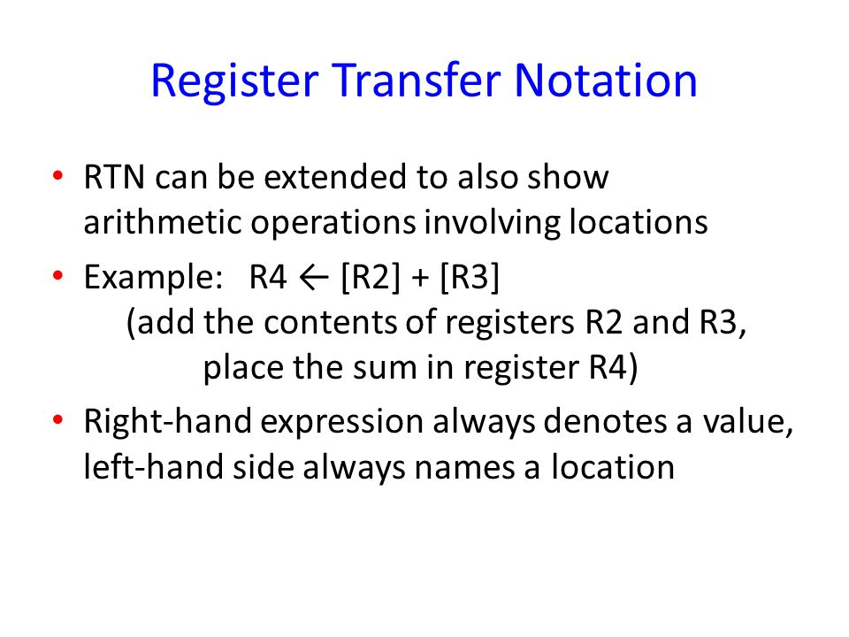 Register Transfer Notation