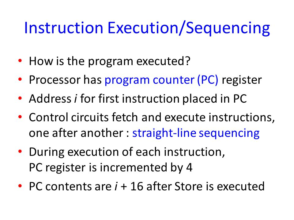 Instruction Execution/Sequencing