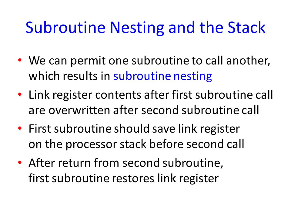 Subroutine Nesting and the Stack