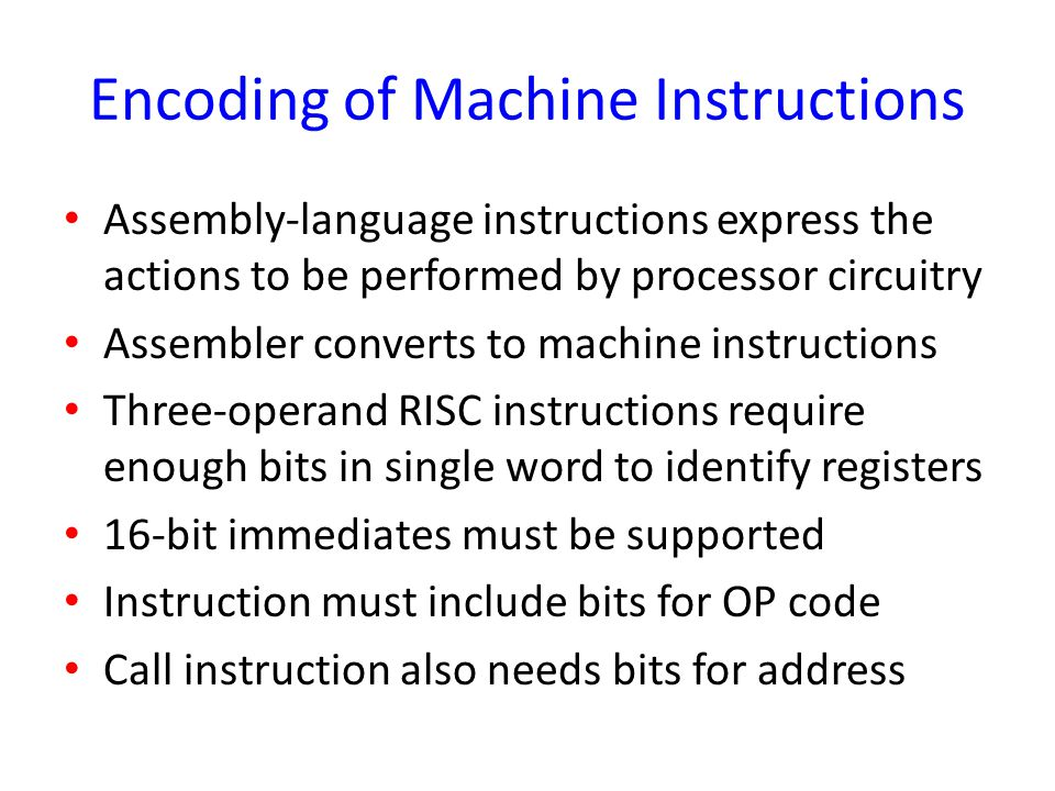 Encoding of Machine Instructions